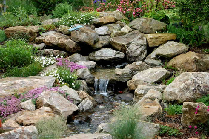 Berm rock garden wild ginger farm for Garden designs with water features